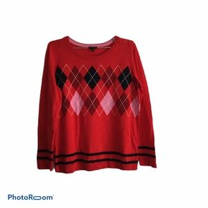 Talbots Long Sleeve Red Argyle Printed Sweater